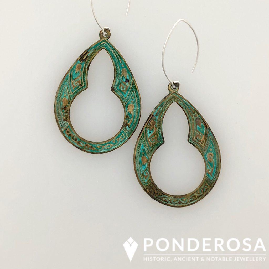 Oxidized Brass Earrings –  Open Key