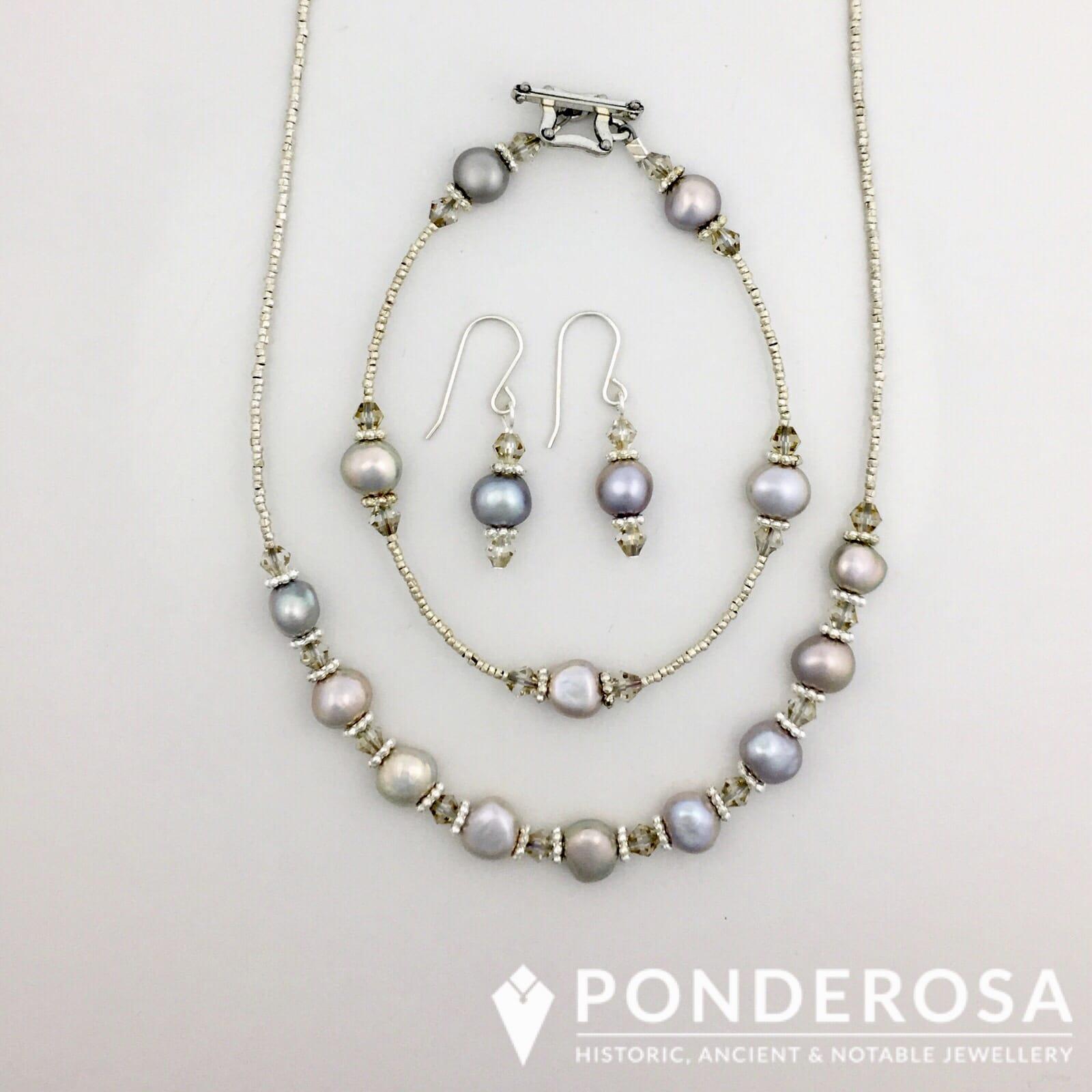Silver Pearl Jewellery Set