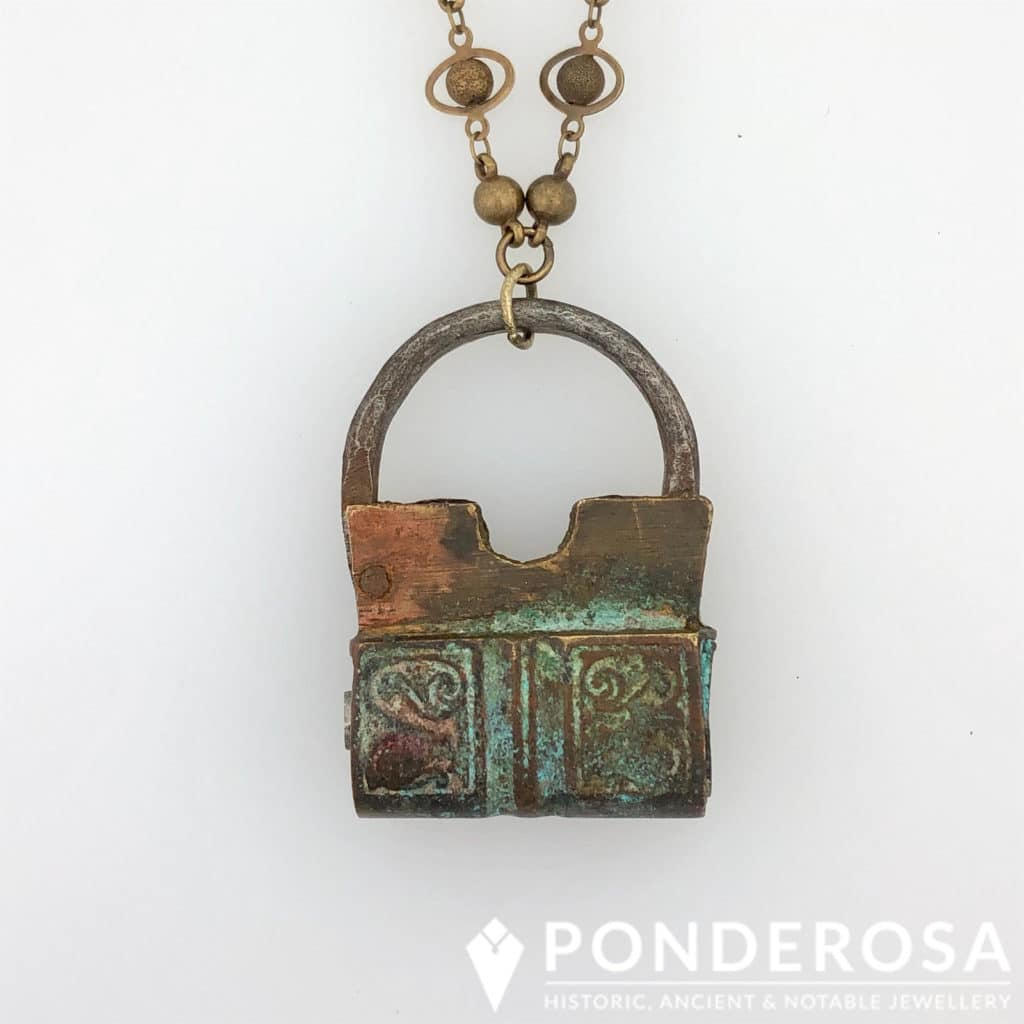 Antique Brass Lock Pendant