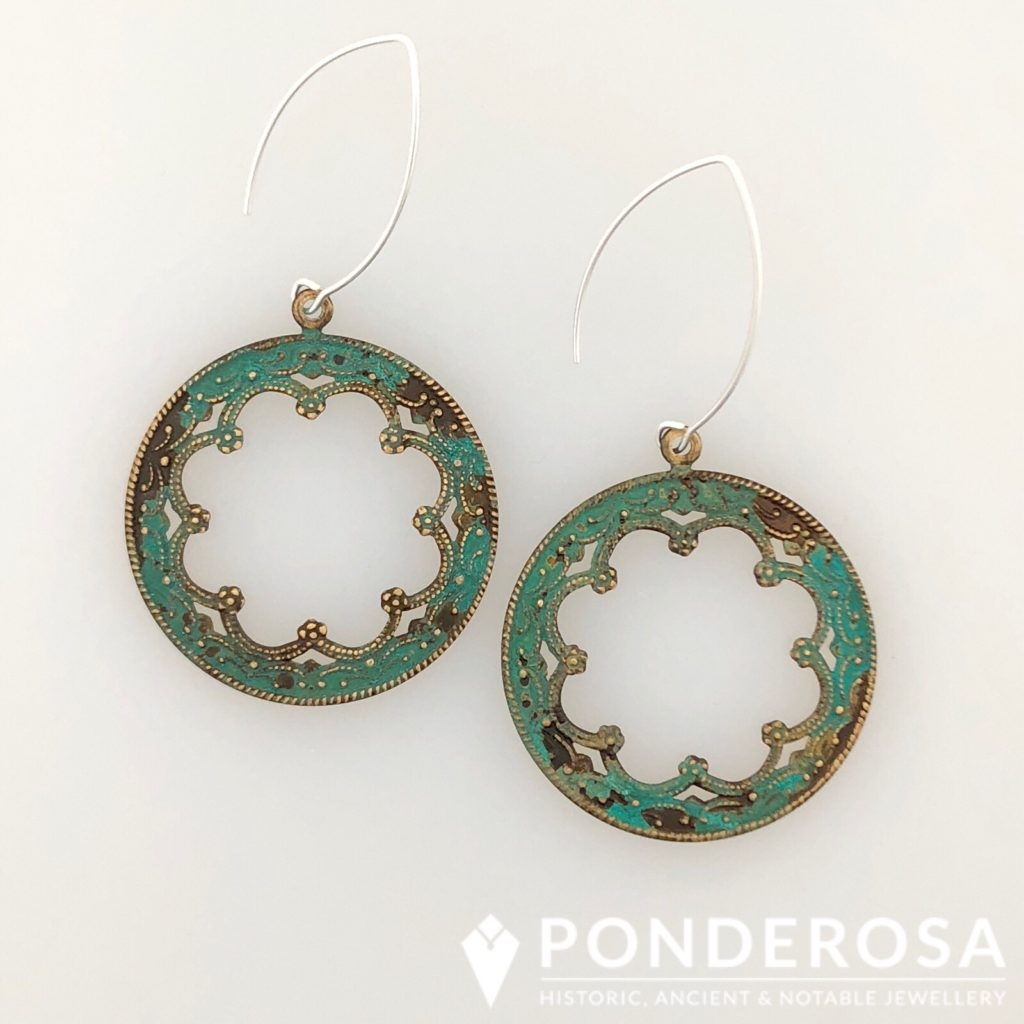 Oxidized Brass Earrings – Victorian Round