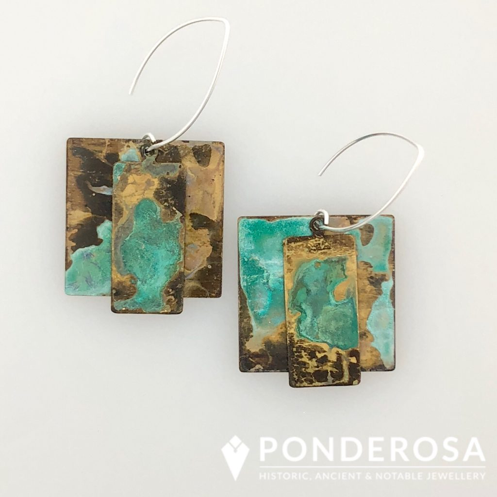 Oxidized Brass Earrings –  Double Square