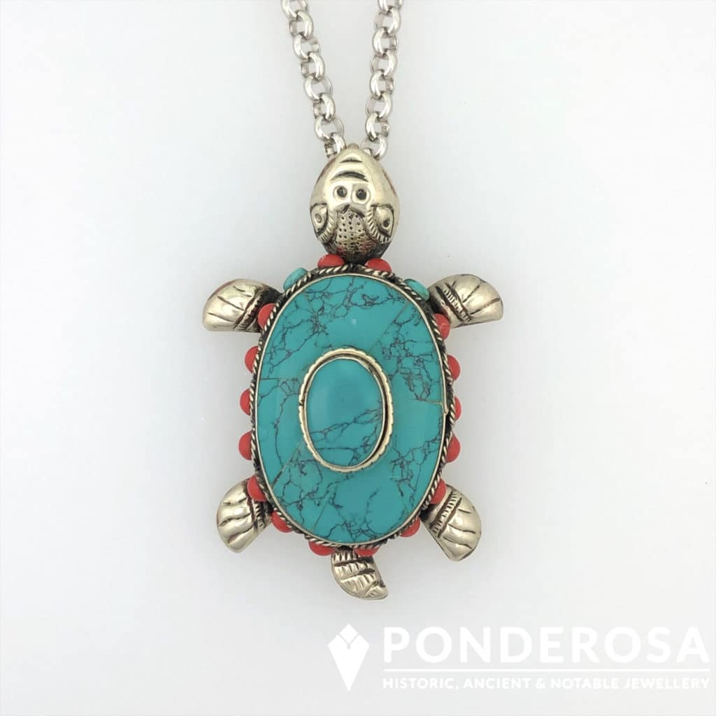 Turquoise and Red Coral Turtle