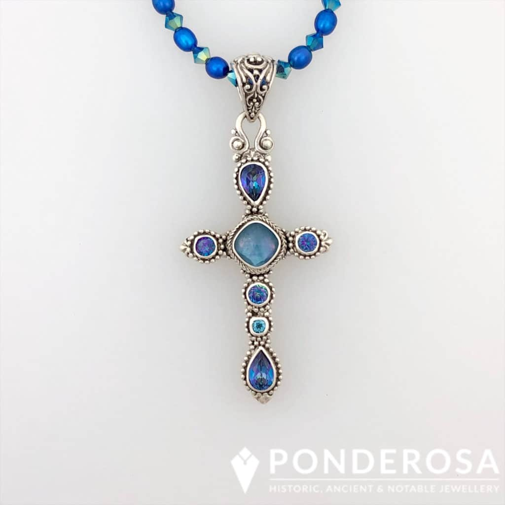 Faceted Topaz Silver Cross