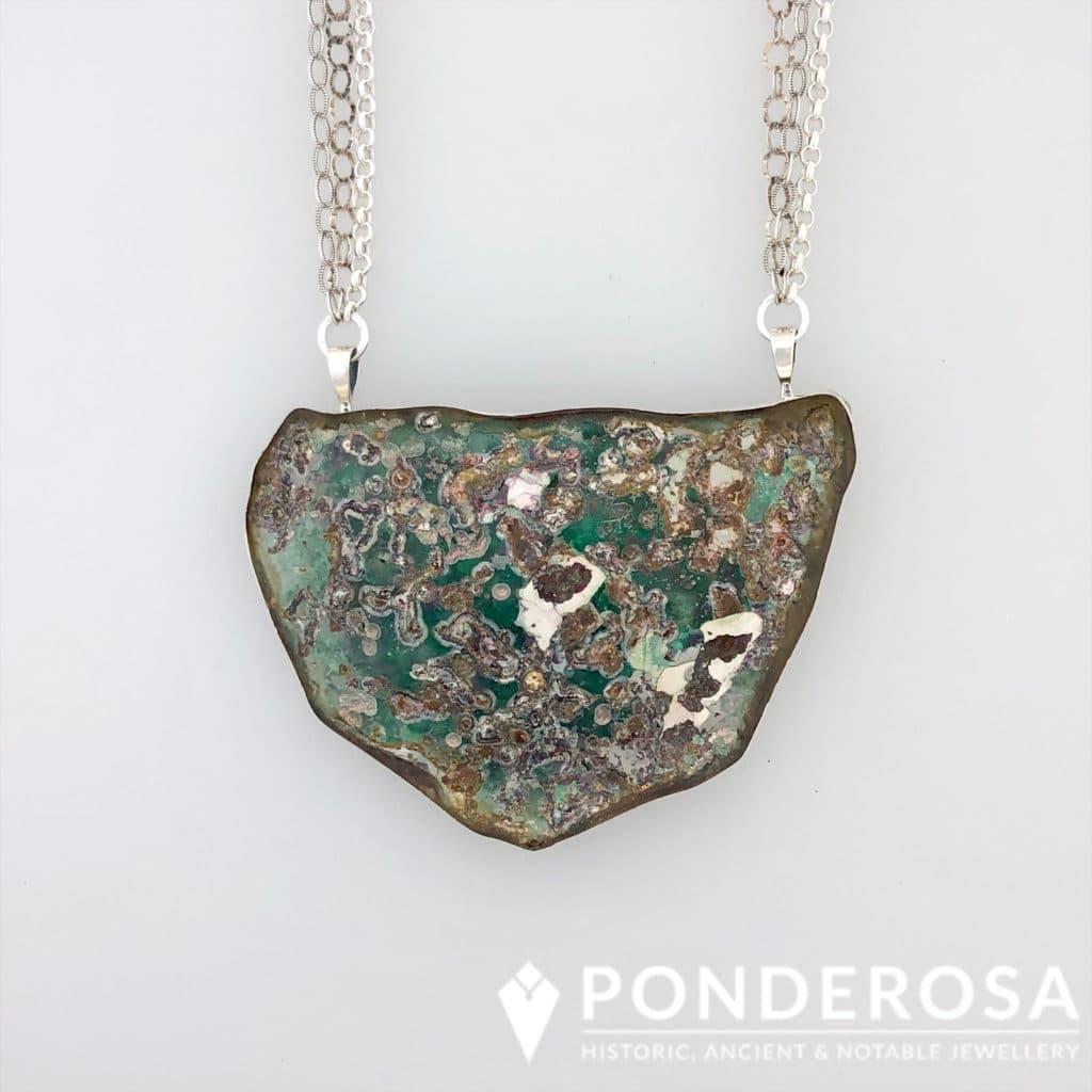 Large Roman Glass Pendant – Silver Patina