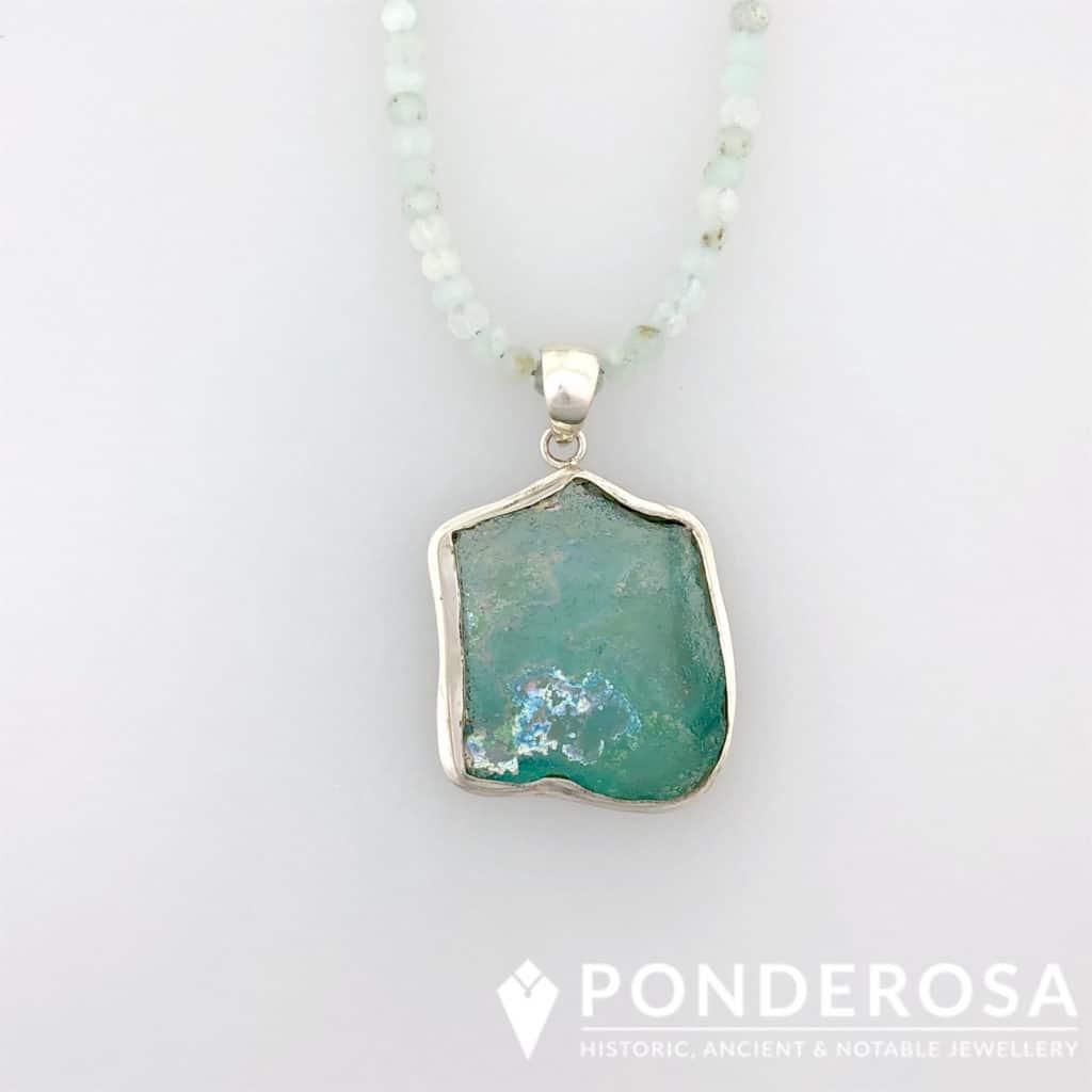 Roman Glass Pendant – Aquamarine Stones